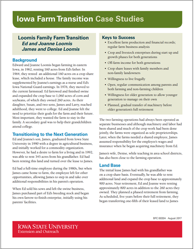 Iowa Farm Transition Case Studies: Loomis Family Farm Transition
